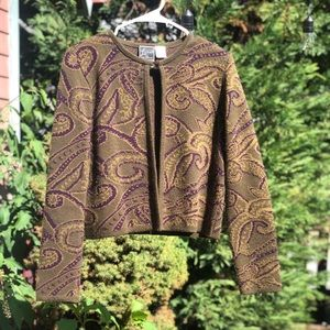 Vintage brown and green paisley cardigan, S